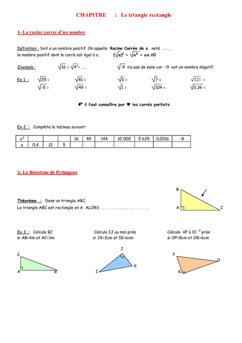 Théorème de Pythagore - 4ème - Géométrie - Exercices - Contrôle - Mathématiques - Collège - Pass ...