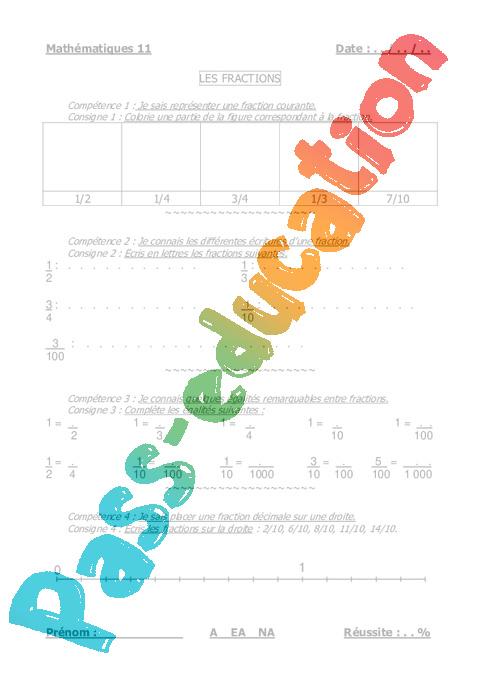 Fractions - Cm1 - Cm2 - Evaluation - Pass Education