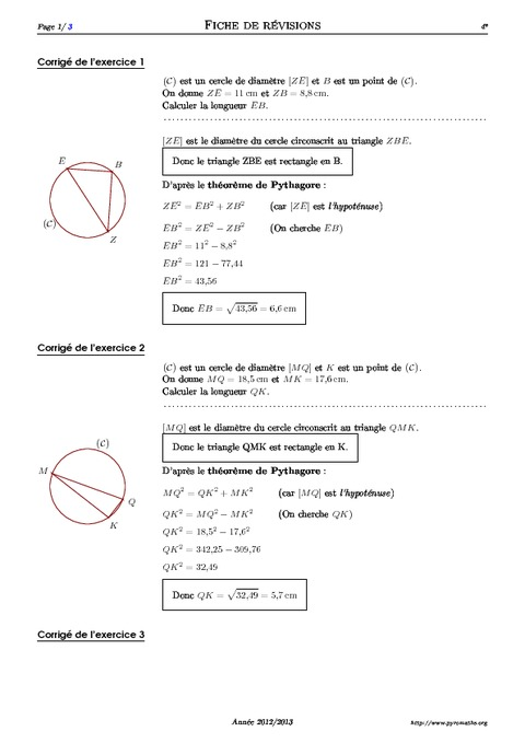 Cercle et théorème de Pythagore - 4ème - Exercices corrigés - Mathématiques - Géométrie ...