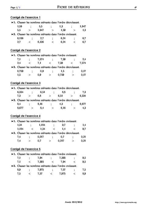 Classer des nombres décimaux - 6ème - Exercices corrigés ...