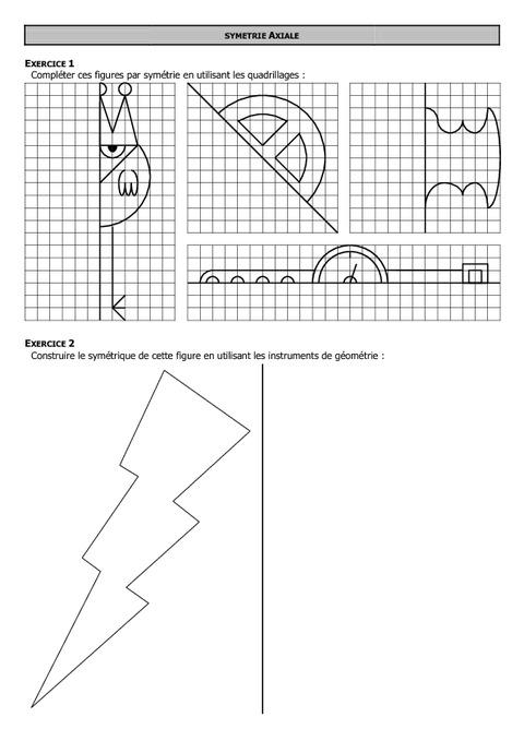 Symétrie axiale - 6ème - Exercices - Correction - Collège ...