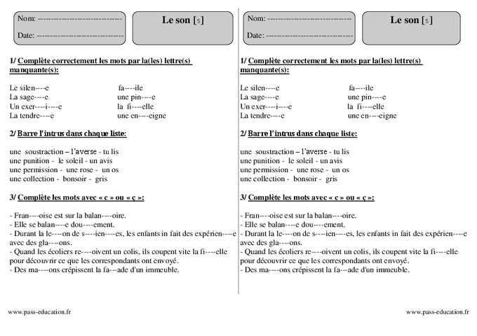 Son s - Ce2 - Exercices - Pass Education