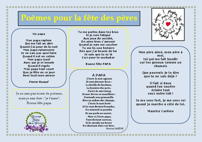 F te des p res po mes cycle 2 cycle 3 vie de la classe pass education - Poeme pour la fete des peres ...