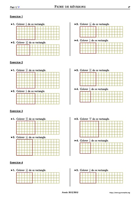 Fractions partage 6 me exercices corrig s for Table de 6 exercices