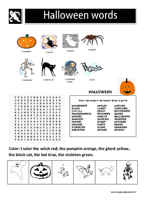 Fabuleux Halloween words - Les mots d'halloween en anglais - Cycle 2  EJ26