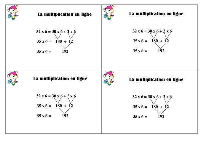 Multiplication en ligne ce1 le on pass education for Calcul multiplication