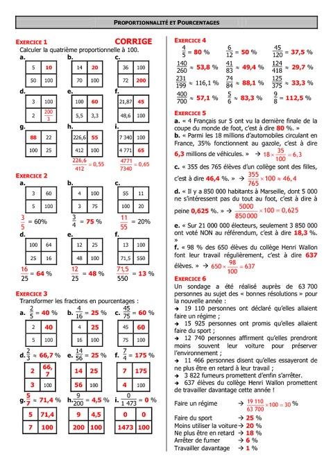 Proportionnalité - 6ème - Exercices - Correction - Collège ...
