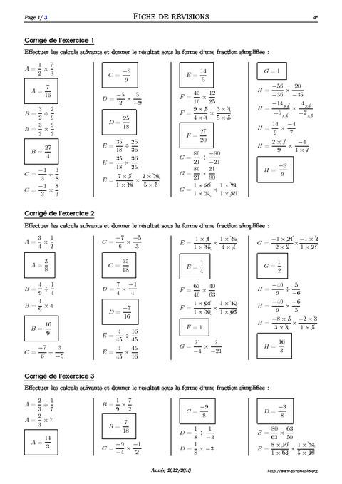 Produits et quotients de fractions - 4ème - Exercices ...