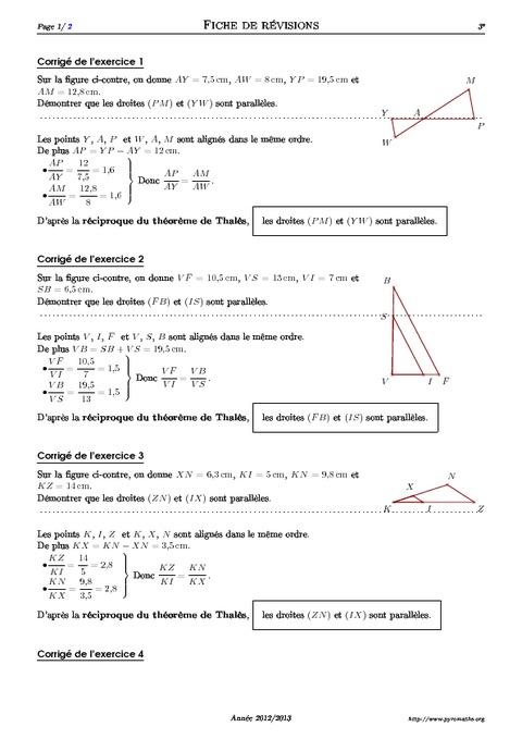Réciproque du théorème de Thalès - 3ème - Exercices corrigés - Mathématiques - Géométrie ...
