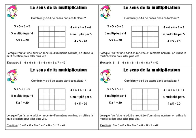 Sens de la multiplication ce1 le on pass education - Table de multiplication exercice ce1 ...