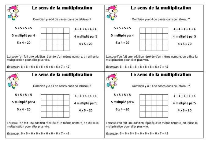 sens de la multiplication ce1 le 231 on pass education