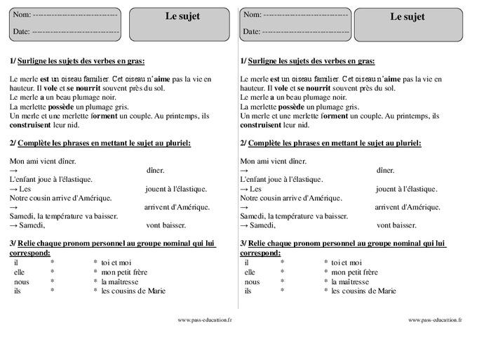 Sujet - Ce2 - Exercices avec correction - Pass Education