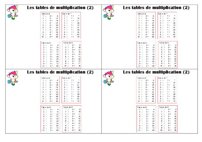 Tables de multiplication ce1 le on pass education for La table de multiplication de 2