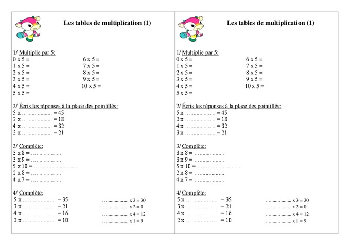 tables de multiplication ce1 exercices calcul cycle 2 pass education