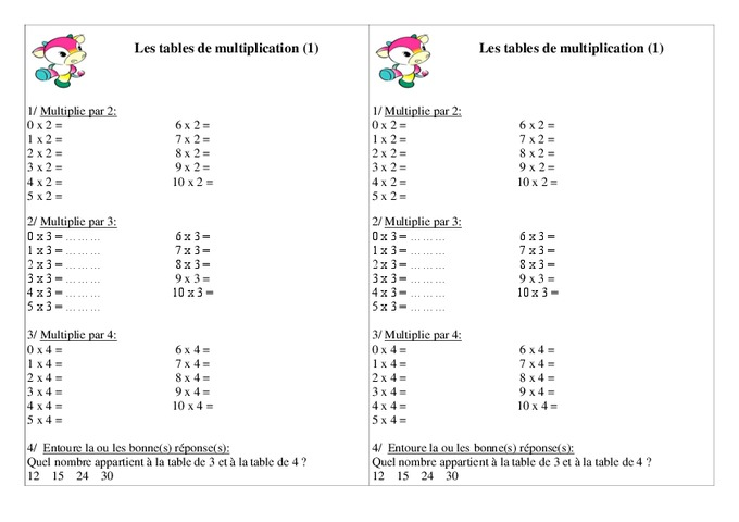 Tables de multiplication ce1 exercices calcul - Les table de multiplication de 1 a 10 ...