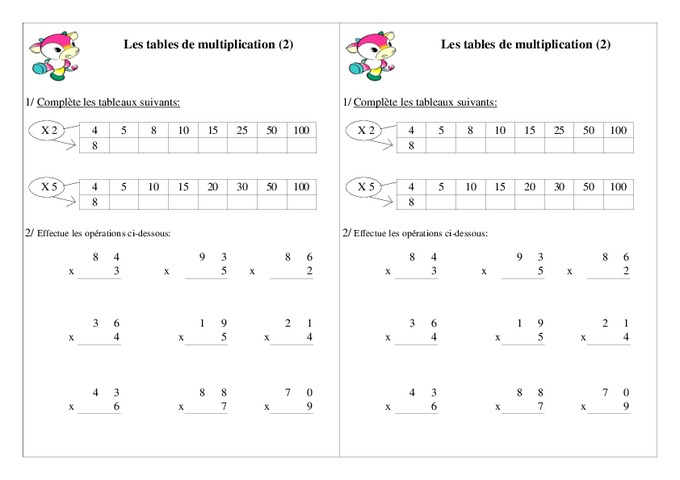 Tables de multiplication ce1 exercices calcul - Exercice table de multiplication cm1 ...