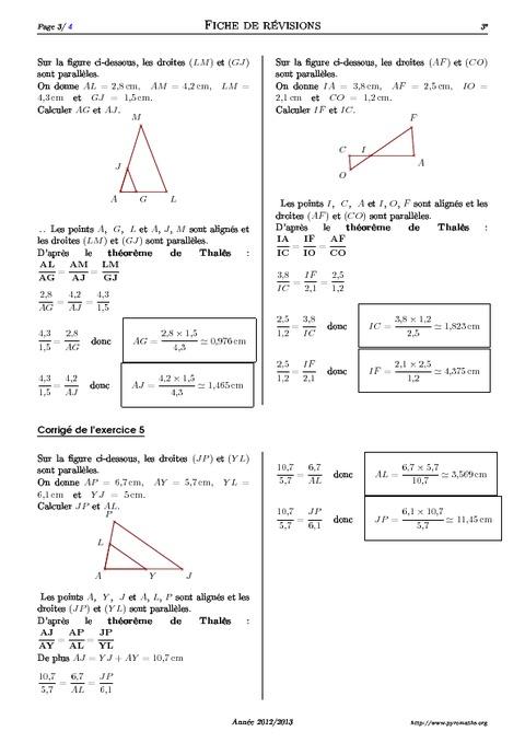 Théorème de Thalès - 3ème - Exercices corrigés ...
