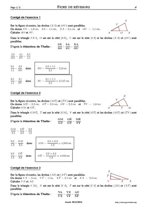 Théorème de Thalès - 4ème - Exercices corrigés ...