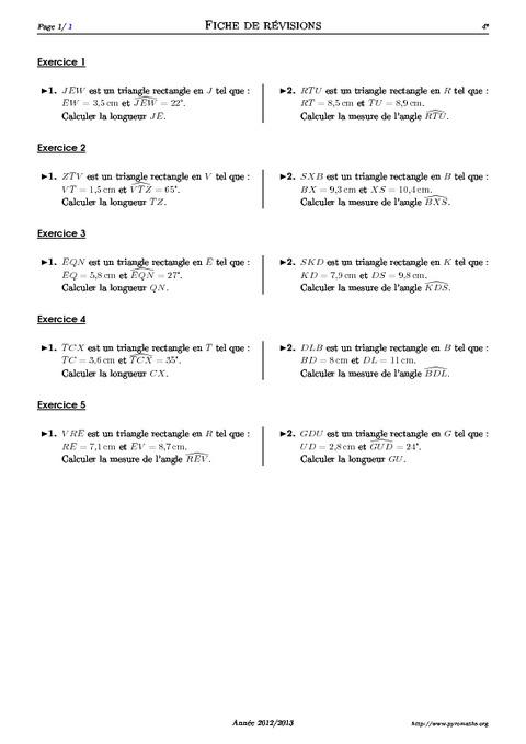 exercices trigonométrie 4eme secondaire