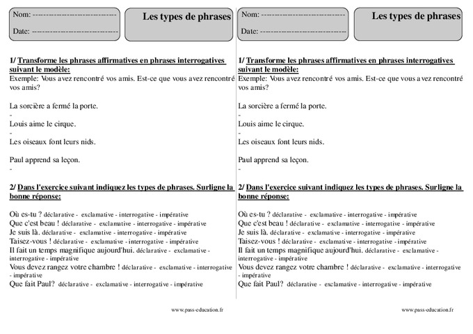 Types de phrases - Ce2 - Exercices corrigés - Pass Education