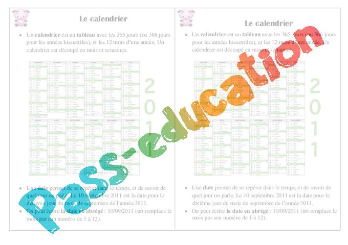 Lire Un Calendrier Ce1.Calendrier Ce1 Lecon Pass Education