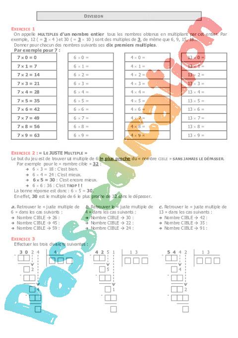Division de nombres d cimaux 6 me exercices correction coll ge math matiques pass - Division a imprimer ...