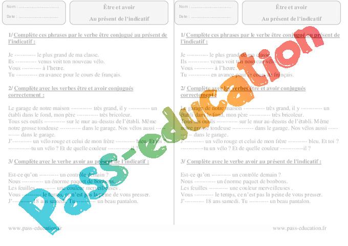 309342429 Etre, avoir - Présent - Ce2 – Exercices Corrigés - Pass Education