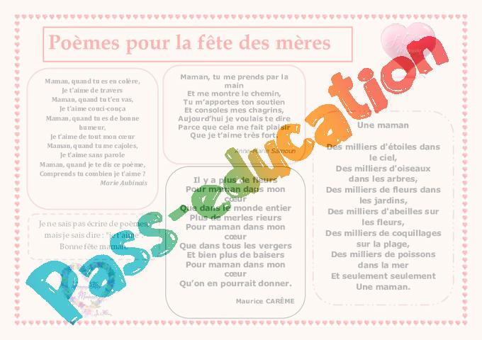 Fête Des Mères Poèmes Cycle 2 Cycle 3 Vie De La