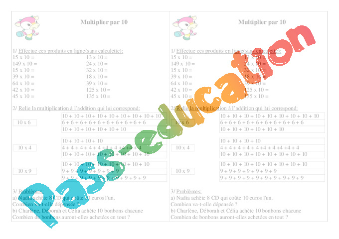 Tables de multiplication ce1 for Exercice table de multiplication ce1