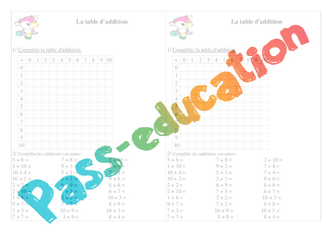 Table d 39 addition ce1 exercices calcul cycle 2 pass education - Table d addition ce1 a imprimer ...