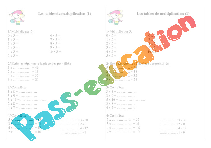 Exercice table de multiplication 2 3 4 5 6 7 tests for Exercice table de multiplication cm1