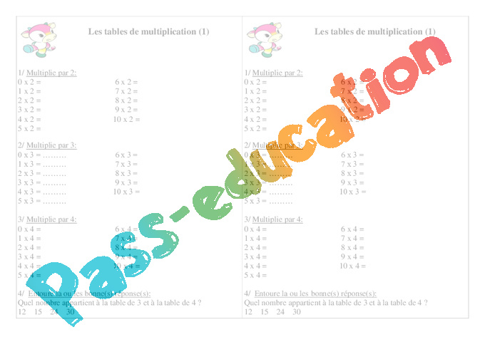 Tables de multiplication ce1 exercices calcul for Table de multiplication de 2 a 5