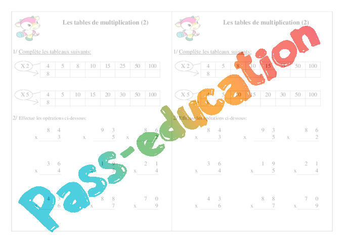 Exercice table de multiplication ce1 - Table de multiplication matou matheux ...