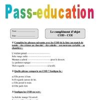 COD - COI - Cm1 - Exercices corrigés - Grammaire - Cycle 3 - Pass Education