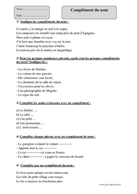 Complément du nom - Cm1 - Exercices corrigés - Grammaire ...