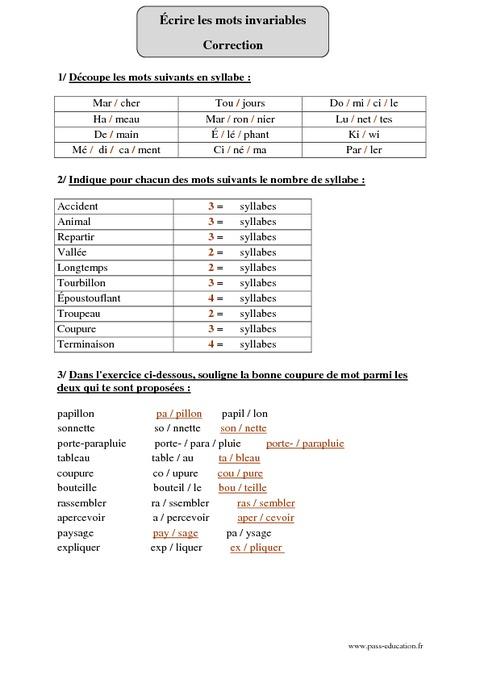 Coupe syllabique cm2 exercices corrig s orthographe cycle 3 pass education - Couper les mots en syllabes ...