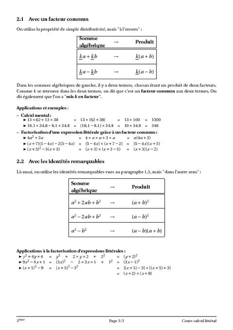 Petit exercice de Mathématiques Calcul littéral. 3ème Mathématiques