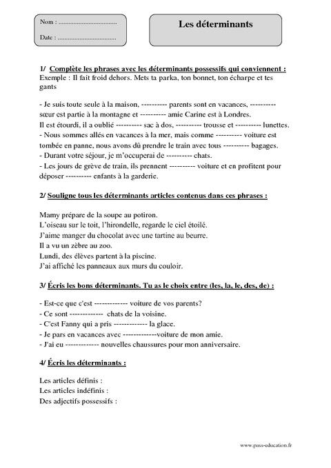 Déterminants - Cm1 - Exercices corrigés - Grammaire - Cycle 3 - Pass Education