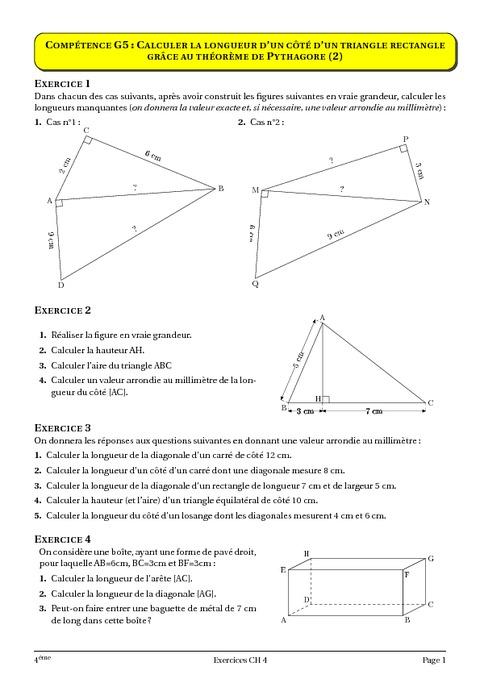 Théorème de Pythagore - 4ème - Géométrie - Cours ...