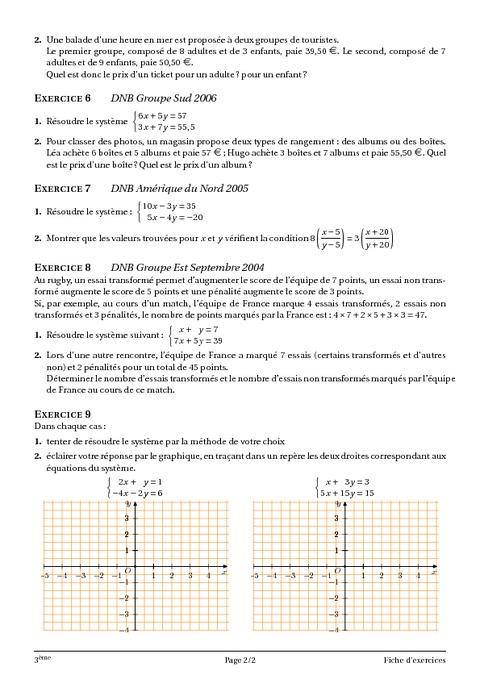 Systèmes d'équations à deux inconnues – 3ème – Cours ...