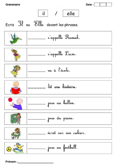 Il ou Elle - Cp - Exercices - Grammaire - Cycle 2 - Pass Education