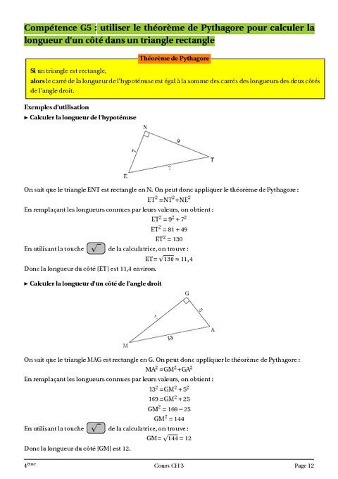 Théorème de Pythagore - 4ème - Géométrie - Cours - Exercices - Collège - Mathématiques - Pass ...