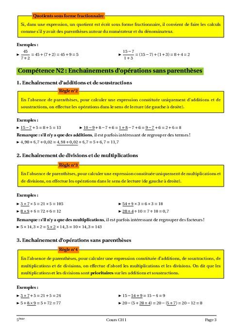 Opérations - Priorités opératoires - 5ème - Cours ...