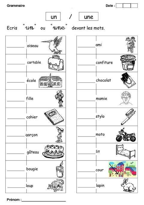 Un ou une cp exercices grammaire cycle 2 pass - Un ou une thermos ...