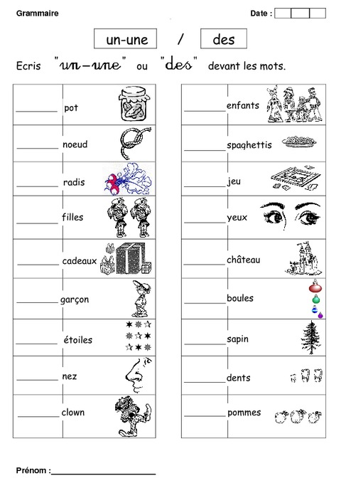 Un, une ou des - Cp - Exercices - Grammaire - Cycle 2 - Pass Education