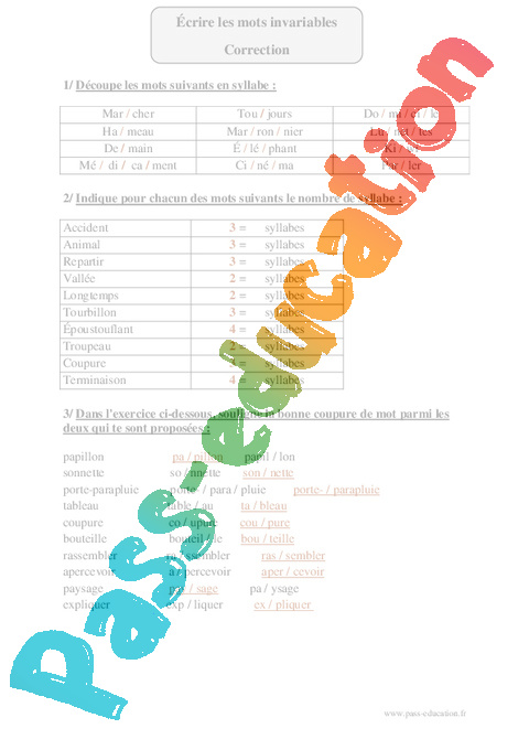 Coupe syllabique cm2 exercices corrig s orthographe cycle 3 pass education - Mots coupes gratuits 2012 ...