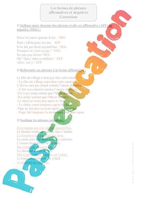 exercices formes de phrases pdf