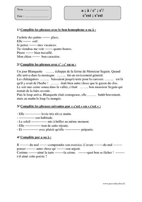 c's' - aà - c'est s'est - Cm1 - Exercices corrigés - Orthographe - Cycle 3 - Pass Education