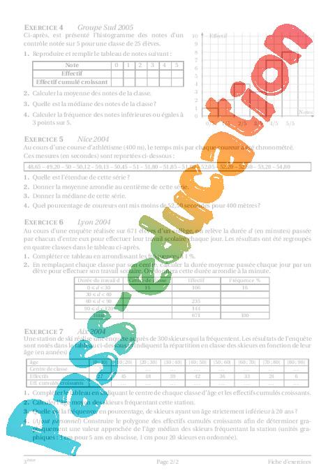 Statistiques – 3ème – Cours – Exercices – Collège ...