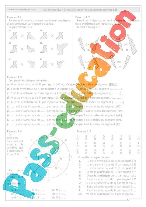 Sym trie centrale 5 me cours exercices g om trie coll ge math matiques pass education - Symetrie a imprimer ...